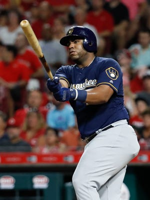 While injuries have decimated the Brewers, first baseman Jesus Aguilar has provided the offense during the first half of the season.