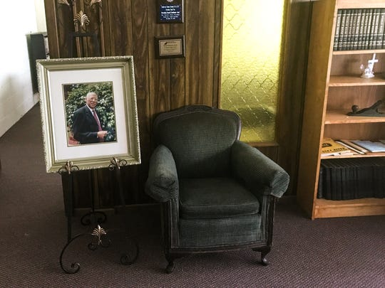 A framed photo of Rev. J.O. Rich, pastor at St. Paul Baptist Church in Anderson from 1960-2007, on display in the church resource room on Monday. Rev. Rich, who served as the President of the Anderson County NAACP Chapter for 22 years, died in his home in Anderson on Friday, August 4.