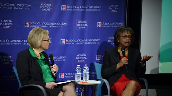 Jane Hall interviews Anita Hill at an event held at American University. Hall is a professor of journalism at the school. (Photo: Owain James)