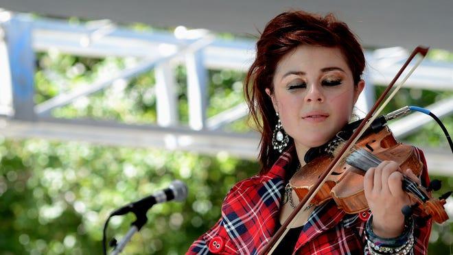 "Amanda Shaw, a Cajun ""phenom,"" in an electrifying performance at Plaza de César Chavez, San Jose, California, December 2012."