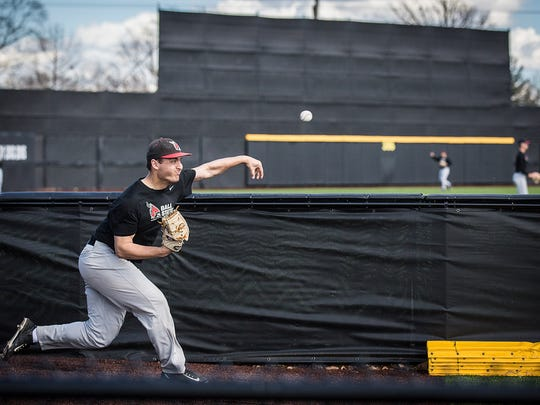 The Ball State baseball team practices on its new baseball