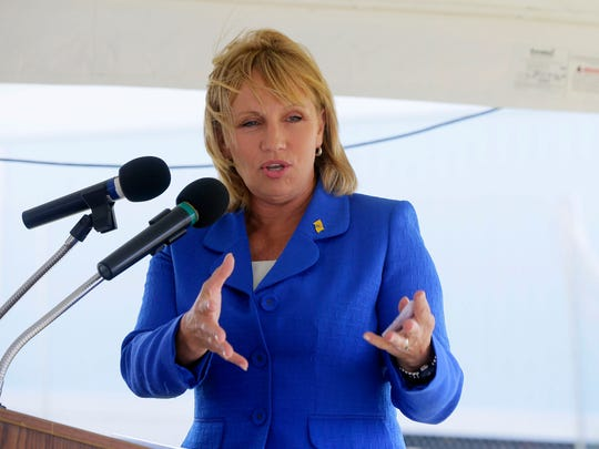 Lieutenant Governor Kim Guadagno speaks during the groundbreaking ceremony for South Beach at Long Branch in Long Branch, NJ Tuesday August 2, 2016.