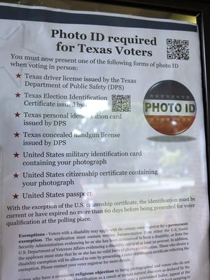 Voters in Texas will have to present identification for the November election.