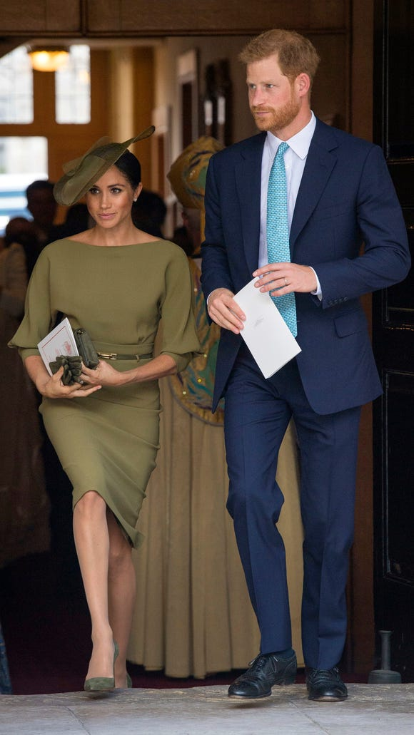 Prince Harry and Duchess Meghan leave the Chapel Royal