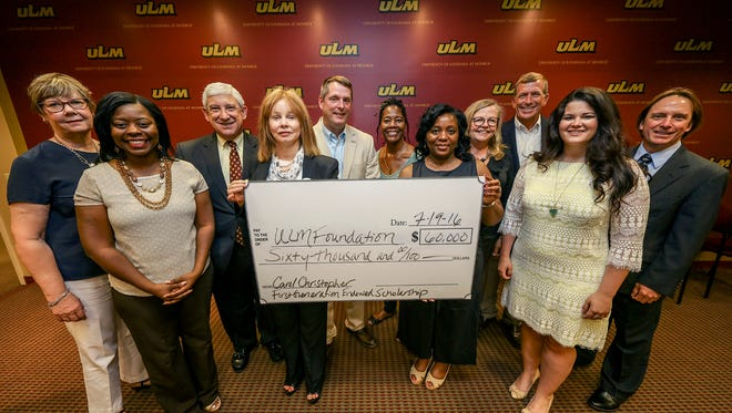 Representatives from the Christopher Youth Center presented the University of Louisiana Monroe Foundation with a $60,000 endowment at a press conference held on campus Tuesday.