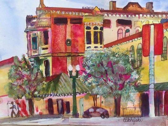 """""""Merrick Building / St. Charles Hotel"""" by Pat Olchefski-Winston."""