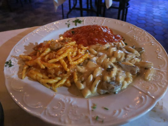 "The ""Tris di Pasta"" -- cavatelli, strozzapreti and"