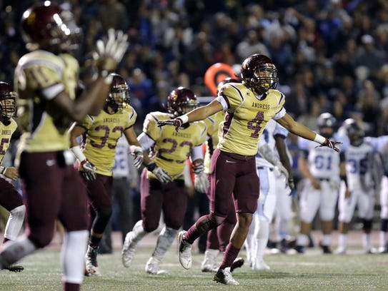 Andress celebrates a defensive stand against Chapin.