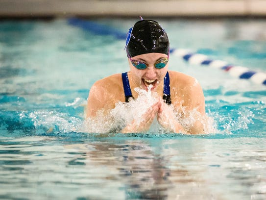 Dallastown's Jena Woods swims the breaststroke in the