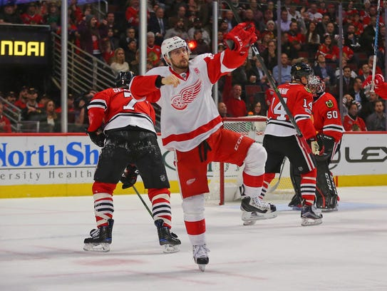 Detroit Red Wings left wing Tomas Tatar celebrates