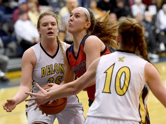 New Oxford's Kaely Long goes up for a shot during the