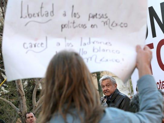 Mexican politician Andrés Manuel López Obrador speaks