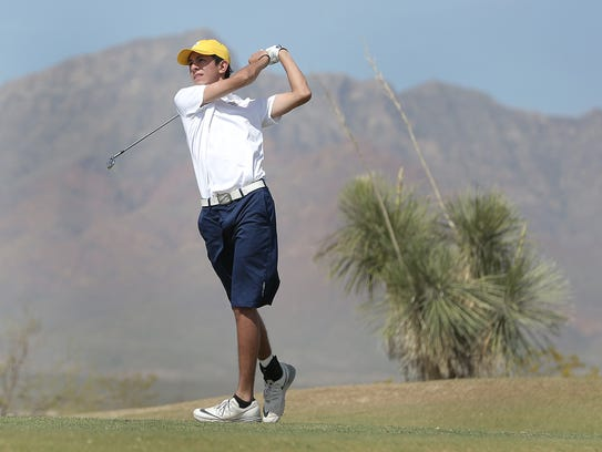Eastwood High School's Noah Gutierrez tees off on the