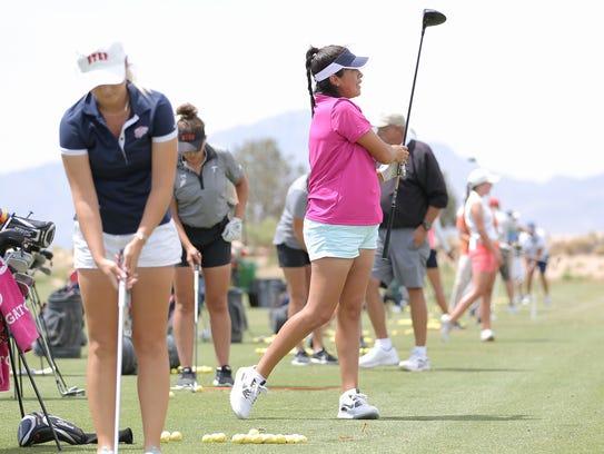 UTEP golfer Alisa Rodriguez watches her tee shot as
