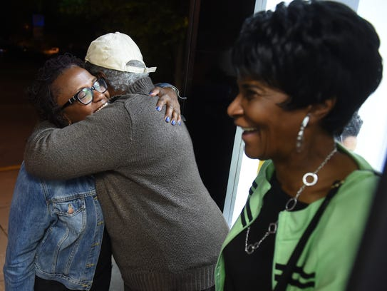 York city Mayor Kim Bracey is embraced by a supporter