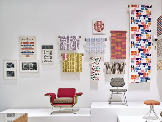A view of the Alexander Girard exhibit at the Vitra