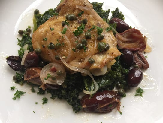 Chicken Marbella and Sauteed Kale is one skillet meal.