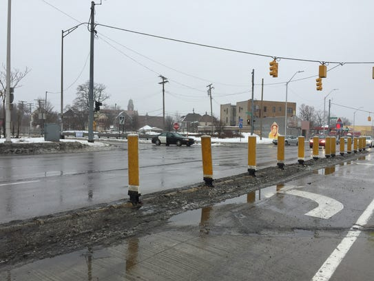 MDOT installed these yellow strips along Gratiot Avenue in Detroit to keep potential wrong-way drivers from using I-94's exit ramps to get on the freeway and cause deadly crashes.