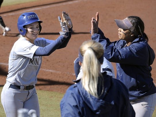 UTEP second baseman Courtney Clayton collects high