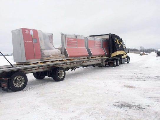 A load of Lely robots arrive at Four Cubs Farm.