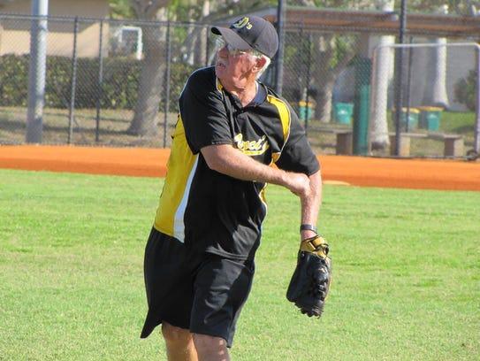 DaVinci's right fielder John Barrett toss the ball