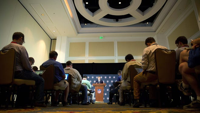 Press conference from the NFL Meetings in Orlando.