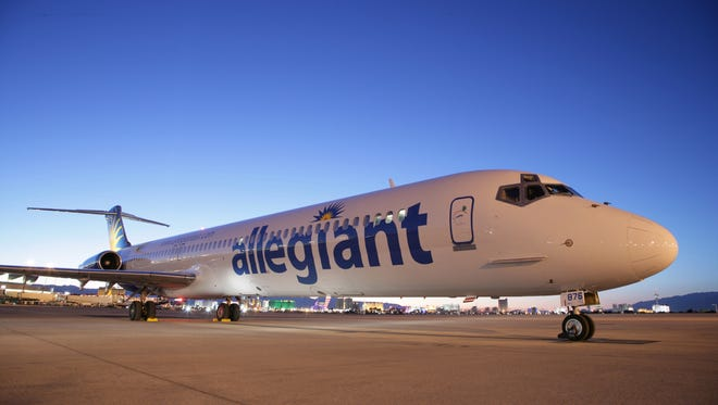 An Allegiant Air airplane shortly after landing in Las Vegas, Nevada.