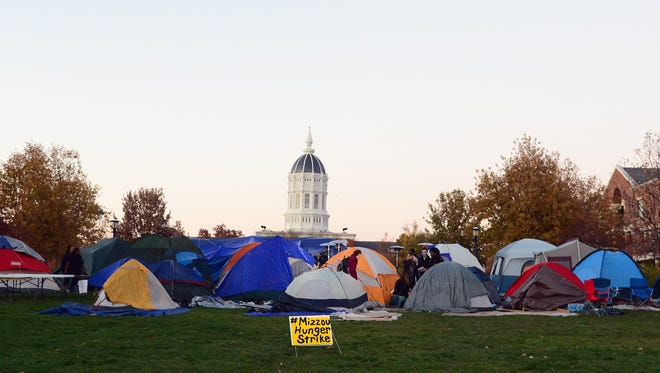 Protesters camp at the University of Missouri in November 2015.