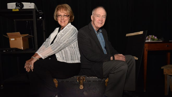 """Dear Rhoda"" playwright Donna Russell and director/co-writer Dave Ranney, both of Washington Island, sit on the trunk Russell purchased 30 years ago that she discovered years later contained a dowry of love letters, clothing and other objects from the 1920s. The letters formed the basis of the play, which premieres June 17-19 with the Island Players at the Trueblood Performing Arts Center on Washington Island."