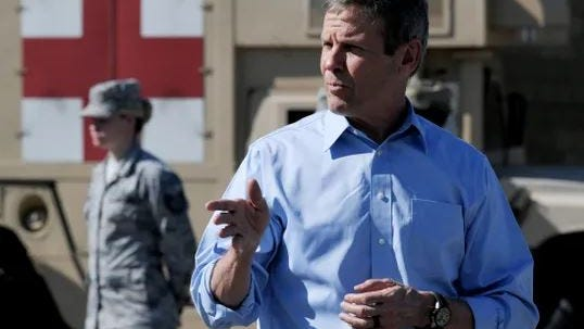 Gov. Bill Lee speaks to Tennessee National Guard members on March 26 in Smyrna before they are sent to assist in the fight against the coronavirus in counties through the state.