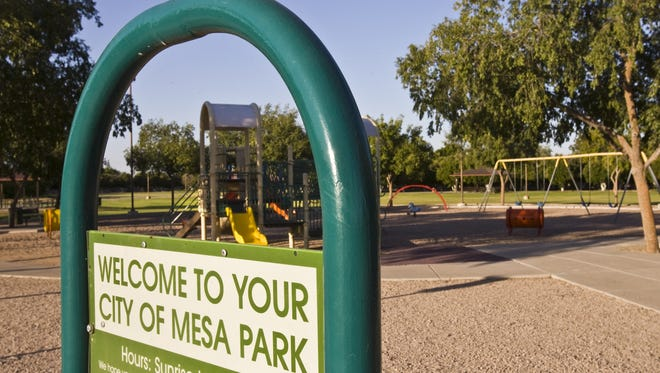 A playground at Gene Autry Park is ready for for adventurous youngsters.