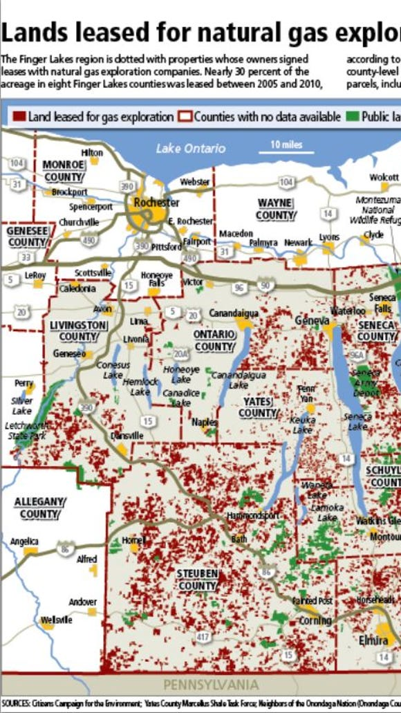 Parcels that had been leased to gas and oil companies were shown as red in this 2011 map.