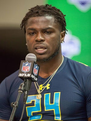 Mar 4, 2017; Indianapolis, IN, USA; Former Michigan linebacker Jabrill Peppers speaks to the media during the 2017 NFL scouting combine at Indiana Convention Center.