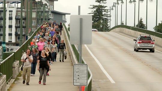 Bridging Bremerton participants cross the Manette Bridge