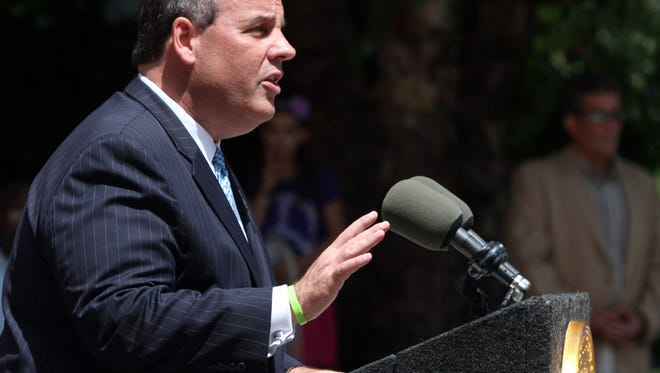 New Jersey Gov. Chris Christie speaks during a July press conference held at the Spring Lake Fire headquarters locate along 5th Ave. in Spring Lake.