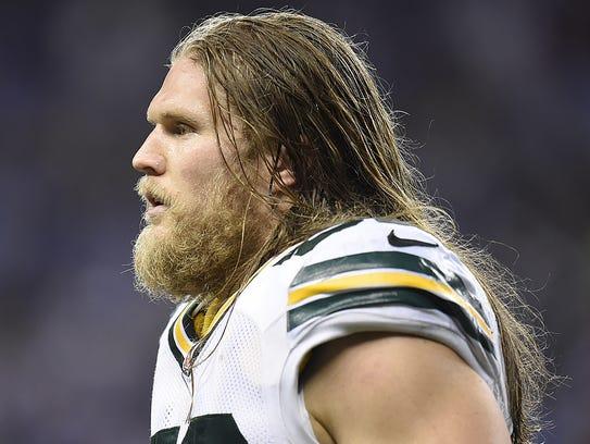 Green Bay Packers linebacker Clay Matthews looks on