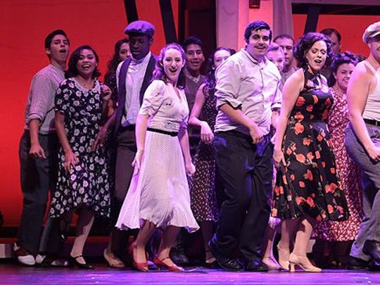 """Lianah Sta. Ana (second from left) and the cast of Phoenix Productions' """"Evita"""" at the Count Basie Theatre in 2015."""