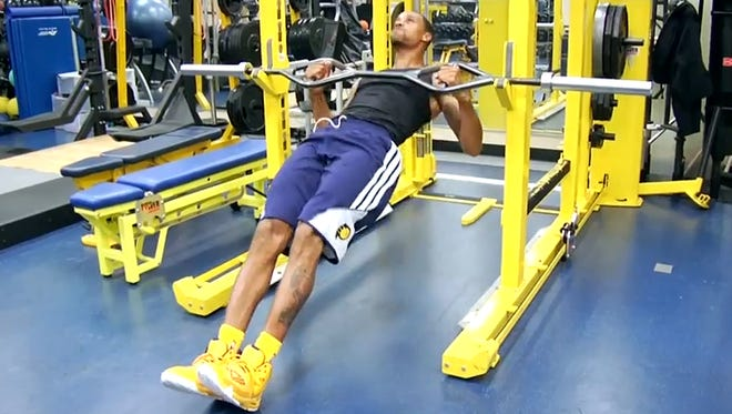 George Hill goes through workouts this offseason preparing for 2014-15.