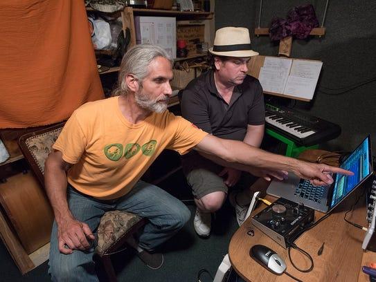 Matt Schellenberg in recording studio with fellow musician