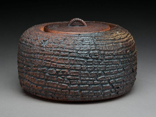 Covered Vase, a wood-fired stoneware vase by Cary Joseph of Ithaca.
