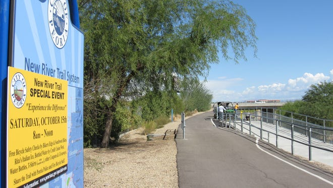 The towns of Glendale and Peoria celebrated the opening of a new segment to the New River Trail, which will allow users to get close to areas such as the Westgate Entertainment District on an off-street path.