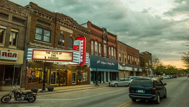 "This shot, from the short film ""Made in Iowa,"" shows the Webster Theater in Webster City, Ia. The film, created by San Francisco-based Square Inc., celebrates the town's resilience after its largest employer left for Mexico."