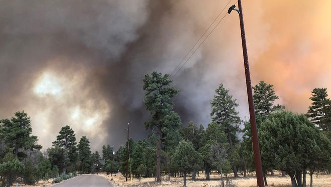 "The Tinder Fire burned north of Payson, Ariz., on Sunday, April 29, 2018. Strong winds and low relative humidity created ""critical fire weather conditions"" that day."
