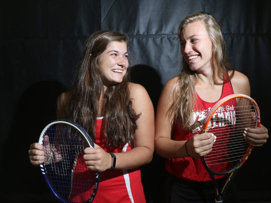 Pacelli's Katherine Mueller (L) and Kaitlin Rogers