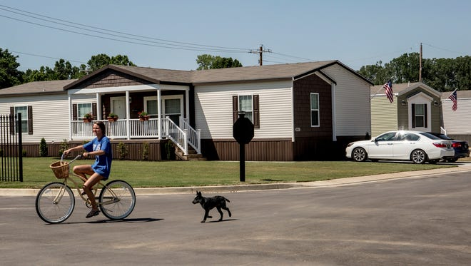 The Memphis Blues manufactured home community, see here on Friday, June 9, 2017, has just reopened after alterations raised the streets and home sites. The site was devastated by flooding in 2011.