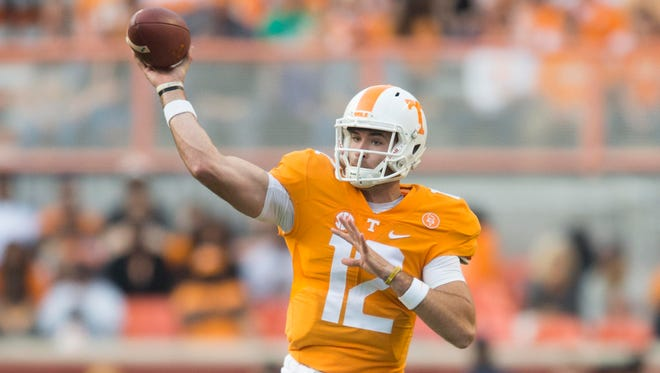 Tennessee quarterback Quinten Dormady throws a pass against Tennessee Tech.
