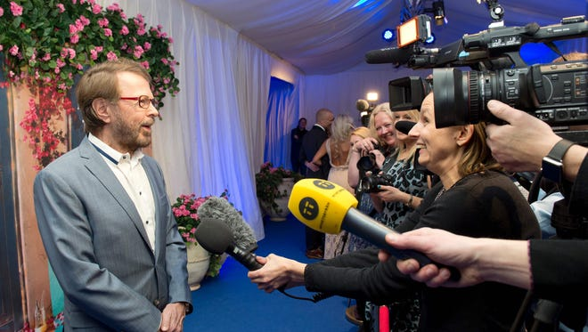 """Bjorn Ulvaeus, former member of ABBA, meets the media at opening of """"Mamma Mia! The party"""", a new restaurant in Stockholm where people can eat while watching a show based on ABBA's songs, on Jan. 20, 2016 in Stockholm."""