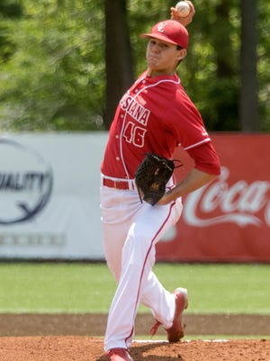 Nick Lee had a season high-tying eight strikeouts while throwing 6.0 shutout innings in UL's 2-1 win over Texas State on Sunday/