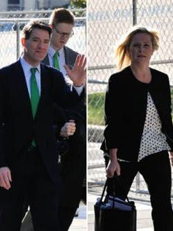 Bill Baroni and Bridget Anne Kelly outside federal court in Newark on Friday, Oct. 14, 2016.