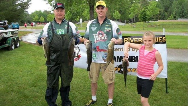 The team of Dan Hofmann and Kris Hanes finished in third place with five fish weighing 12.40 pounds at the Central Wisconsin River Series event in Stevens Point in June 2014.